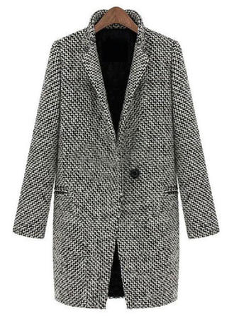 Spandex Long Sleeves Houndstooth Wool Coats