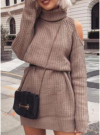Miscela di cotone Dolcevita Colore solido Costine Abito maglione