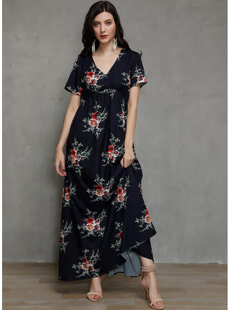 Print/Floral Short Sleeves A-line Maxi Casual/Elegant/Vacation Dresses