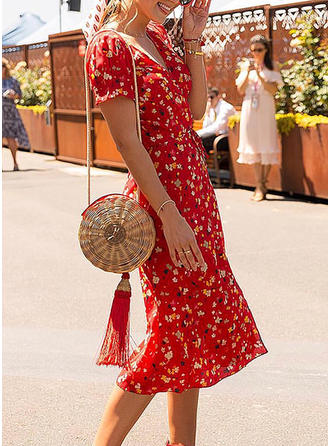 Print V-neck Knee Length A-line Dress