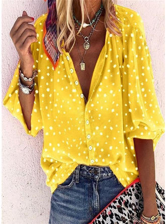 PolkaDot V-neck 3/4 Sleeves Button Up Casual Blouses