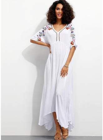 Embroidery/Floral 1/2 Sleeves A-line Maxi Casual/Vacation Dresses