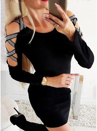 Lentejuelas/Sólido Manga Larga Ajustado Sobre la Rodilla Pequeños Negros/Elegante Vestidos