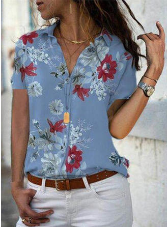 Print Floral Lapel Short Sleeves Button Up Casual Elegant Shirt Blouses