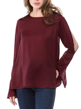 Solid Round Neck Flare Sleeve Long Sleeves Casual Elegant Blouses