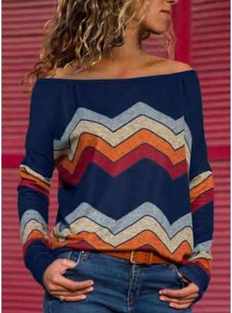 Print Off the Shoulder Long Sleeves Casual Knit Blouses