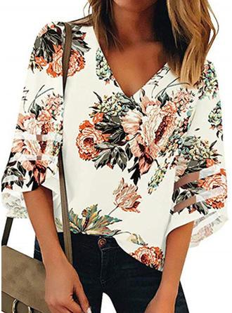 Print Blomster V-hals 1/2 ærmer Casual T-shirts