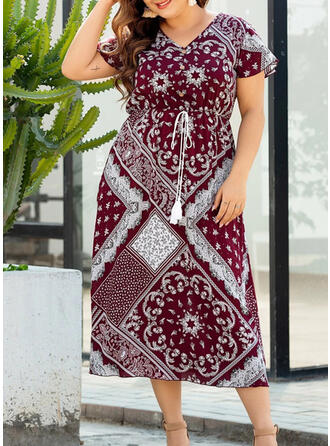 Print Short Sleeves A-line Casual/Boho/Vacation/Plus Size Midi Dresses