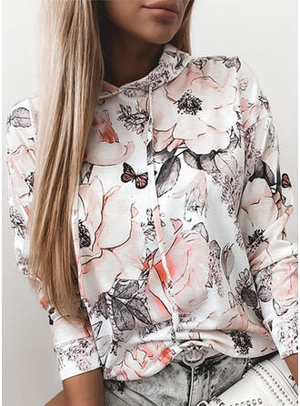 Bloemen Dierenprint Lange Mouwen Hoodie