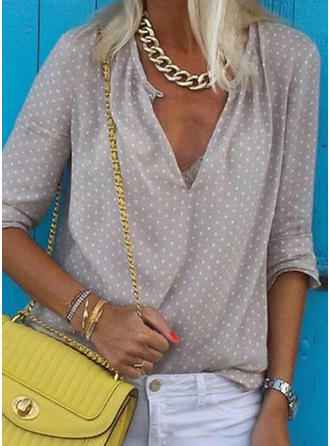 PolkaDot V neck Long Sleeves Casual Shirt Blouses