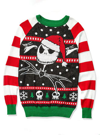 Unisex Polyester Animal Print Striped Ugly Christmas Sweater