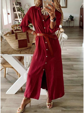 Solid Long Sleeves Bodycon Maxi Casual Dresses