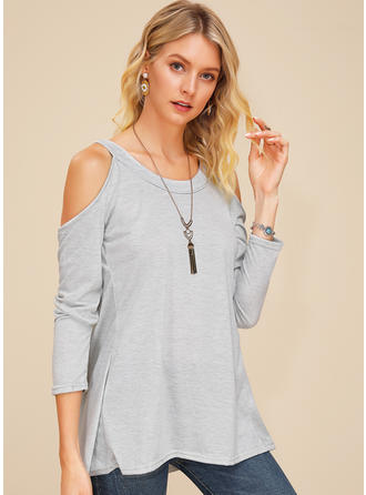 Solid Round Neck Cold Shoulder Long Sleeves Casual Sexy Blouses