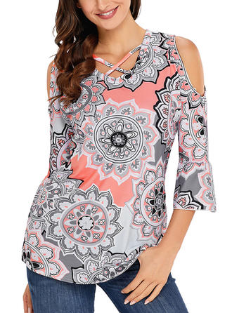 Print V Neck 3/4 Sleeves Casual Elegant Blouses