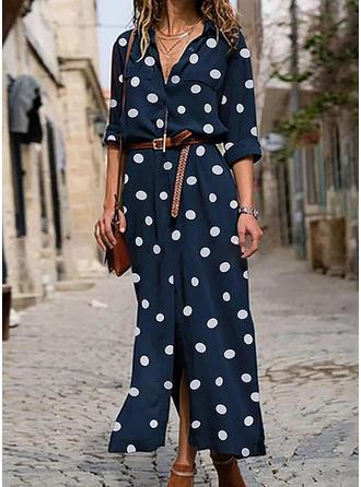 PolkaDot Long Sleeves A-line Casual/Elegant Maxi Dresses