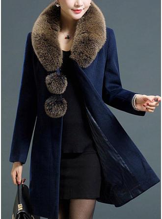 Poliester Długie rękawy Jednolity kolor Slim Fit Płaszcze