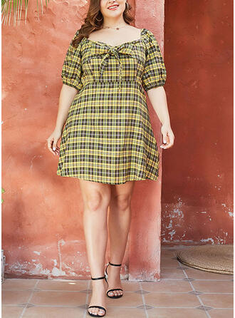 Print 1/2 Sleeves A-line Above Knee Plus Size Dresses