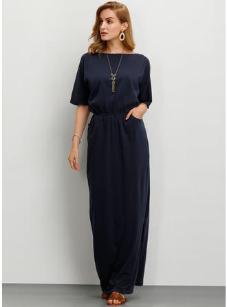 Solid 1/2 Sleeves Sheath Maxi Casual Dresses
