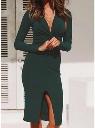 Einfarbig Lange Ärmel Etui Knielang Freizeit/Elegant Kleider