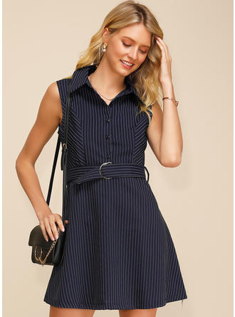 Striped Sleeveless A-line Above Knee Casual/Elegant Dresses