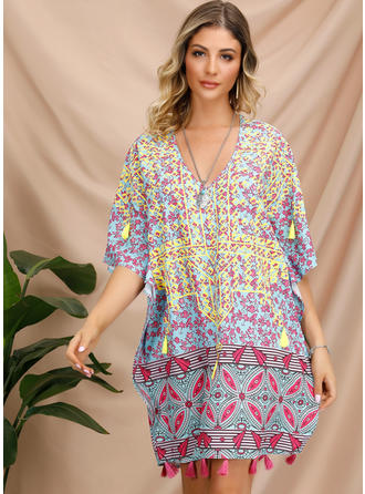 Embroidery/Print 1/2 Sleeves Shift Above Knee Casual/Boho Dresses