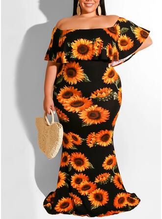 Print/Floral 1/2 Sleeves Sheath Vacation/Plus Size Midi Dresses