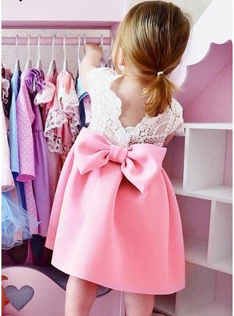Mädchen Rundhals Lace Bogen Niedlich Party Kleid