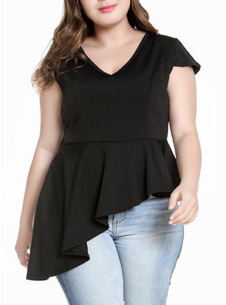 Solid V Neck Cap Sleeve Casual Elegant Blouses