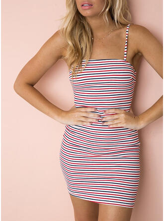 Striped Sleeveless Sheath Above Knee Sexy Dresses