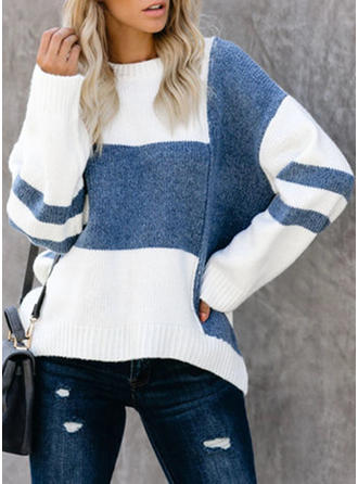 Color Block Cable-knit Chunky knit Stand Collar Sweaters