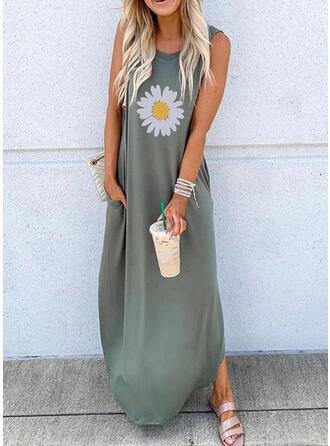 Print/Floral Sleeveless Shift Casual/Vacation Maxi Dresses
