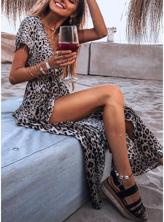 Leopard Short Sleeves A-line Casual Maxi Dresses