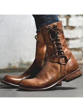 Femmes PU Talon plat Chaussures plates Bout fermé Bottes Bottes mi-mollets avec Boucle Zip Dentelle chaussures