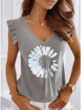 Print Floral V-Neck Sleeveless Casual T-shirts