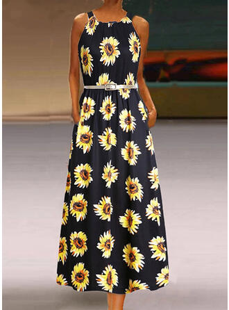 Sunflower Print Sleeveless A-line Casual Maxi Dresses