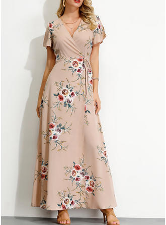 Print/Floral Short Sleeves/Split Sleeve A-line Casual/Elegant Maxi Dresses