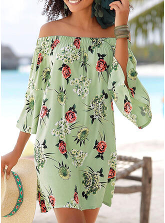 Print/Floral 3/4 Sleeves/Flare Sleeves Sheath Above Knee Casual/Vacation Dresses