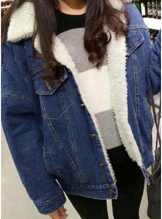 Dżinsowa Bawełna Długie rękawy Jednolity kolor Jeans Płaszcze