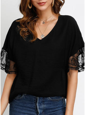 Lace V-Neck Flare Sleeve 1/2 Sleeves Casual Elegant Blouses