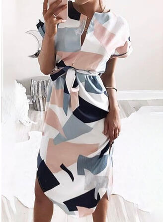 Geometric Print Short Sleeves Sheath Knee Length Casual Dresses
