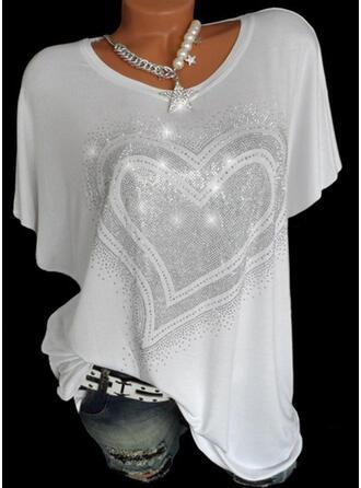 Hjerte paljetter Rund hals Kortermer T-skjorter