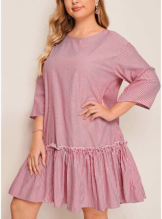 Striped 3/4 Sleeves Shift Knee Length Plus Size Dresses