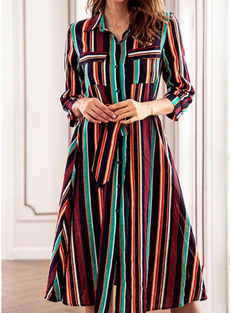 Striped 3/4 Sleeves A-line Knee Length Casual/Elegant Dresses