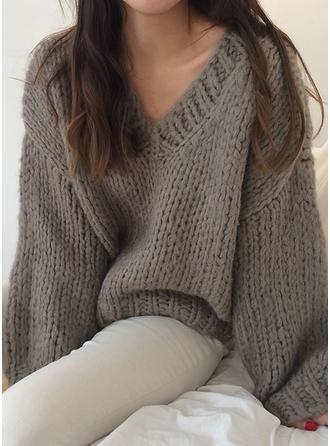 Mélange de coton V-neck Couleur unie gros tricot Pulls
