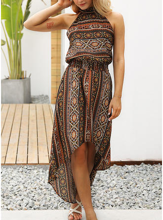 Print Bohemian Halter Asymmetrical Sheath Dress