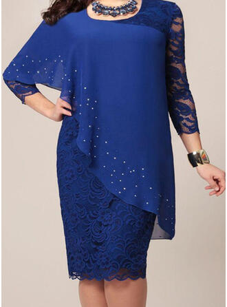 Lace/Solid 3/4 Sleeves Bodycon Knee Length Party/Elegant/Plus Size Dresses
