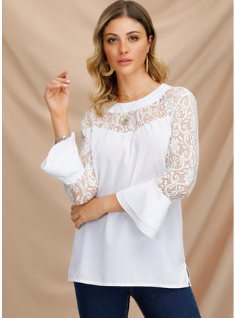 Solid Round Neck Flare Sleeve 3/4 Sleeves Casual Elegant Blouses