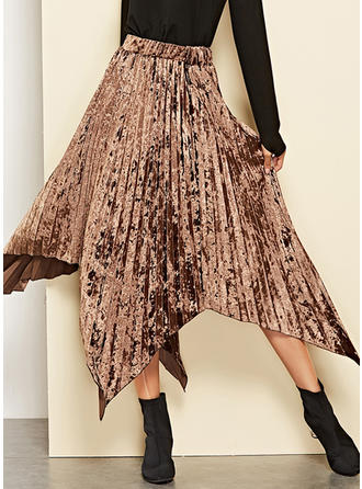 Velvet Polyester Plain Mid-Calf Pleated Skirts