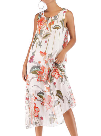 Print/Floral Sleeveless Shift Casual/Vacation Midi Dresses
