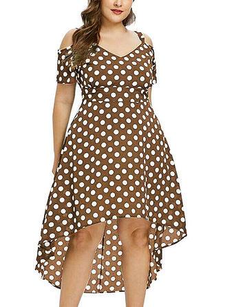 PolkaDot Cold Shoulder Sleeve A-line Asymmetrical Casual/Plus Size Dresses